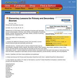 Elementary Lessons for Primary and Secondary Sources