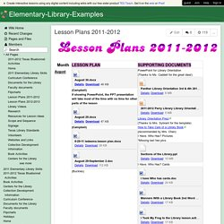 Elementary-Library-Examples - Lesson Plans 2011-2012