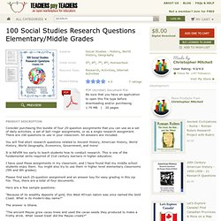 100 Daily Social Studies Research Questions ElemMiddle Grades - MisterMitchell.com
