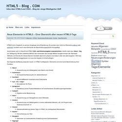 Neue Elemente in HTML5 - Eine Übersicht aller neuen HTML5-Tags