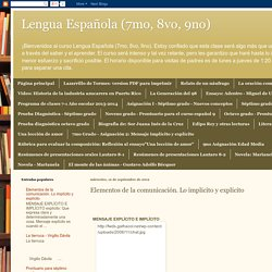 Lengua Española (7mo, 8vo, 9no): Elementos de la comunicación. Lo implícito y explícito