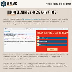 Hiding elements and CSS animations