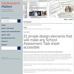 21 simple design elements that will make any School Assessment Task sheet accessible