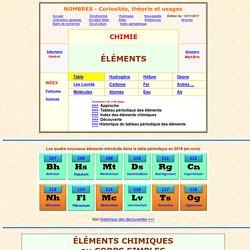 éléments chimiques - table et références