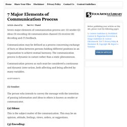 7 Major Elements of Communication Process