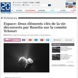 Espace: Deux éléments clés de la vie découverts par Rosetta sur la comète Tchouri