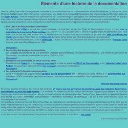 Éléments d'une histoire de la documentation