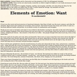 Elements of Emotion: Want