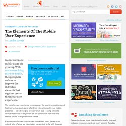 The Elements Of The Mobile User Experience