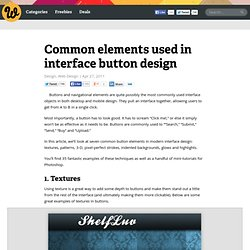 Common elements used in interface button design