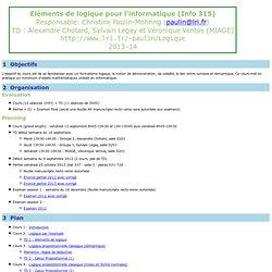 Eléments de logique pour l'informatique (Info 315)
