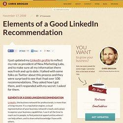 Elements of a Good LinkedIn Recommendation