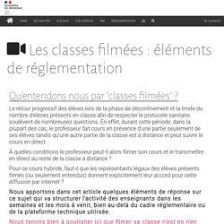 Les classes filmées : éléments de réglementation