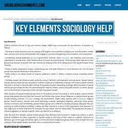 Key Elements Sociology Homework & Assignment Help