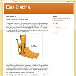 Eles Makina: Lifting Equipment And Its Work