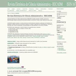 Revista Eletrônica de Ciência Administrativa - RECADM