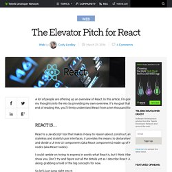 The Elevator Pitch for React -Telerik Developer Network