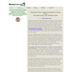 Eleventh and Twelfth Grade Money Skills, Teaching High School, Economics, Business
