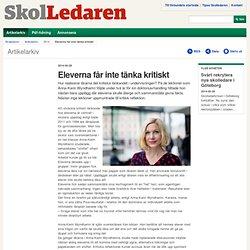 Eleverna får inte tänka kritiskt – Sveriges Skolledarforbund