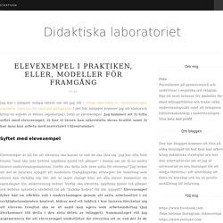 Elevexempel i praktiken, eller, modeller för framgång - Didaktiska laboratoriet