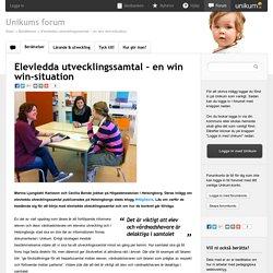 Elevledda utvecklingssamtal – en win win-situation - Unikums forum