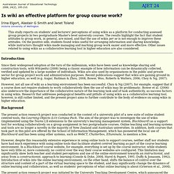 AJET 24(2) Elgort, Smith and Toland (2008) - is wiki an effective platform for group course work?