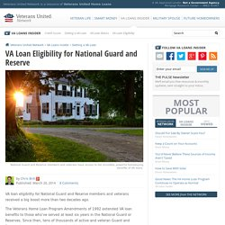 VA Loan Eligibility for National Guard and Reserve
