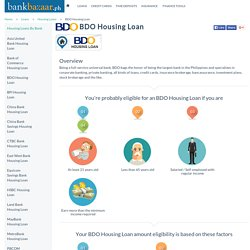 BDO Housing Loan - Interest Rates, Eligibility, Philippines