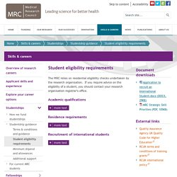 Student eligibility requirements - Skills & careers