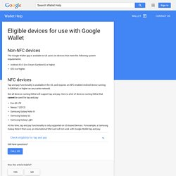 Eligible devices for use with Google Wallet - Wallet Help