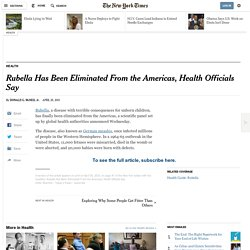 Rubella Has Been Eliminated From the Americas