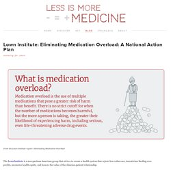 Lown Institute: Eliminating Medication Overload: A National Action Plan — Less is More Medicine
