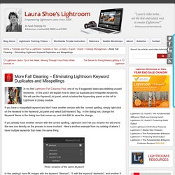 More Fall Cleaning – Eliminating Lightroom Keyword Duplicates and Misspellings