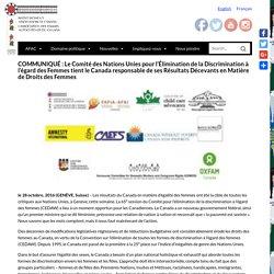 COMMUNIQUÉ : Le Comité des Nations Unies pour l'Élimination de la Discrimination à l'égard des Femmes tient le Canada responsable de ses Résultats Décevants en Matière de Droits des Femmes - NWAC