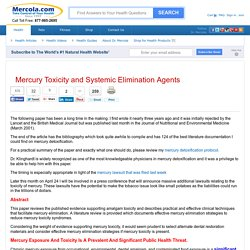 Mercury Toxicity and Systemic Elimination Agents – Information and Sources