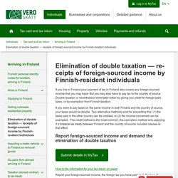 Elimination of double taxation — receipts of foreign-sourced income by Finnish-resident individuals - Verohallinto