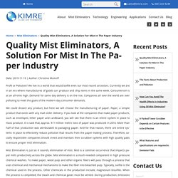 Quality Mist Eliminators, A Solution For Mist In The Paper Industry