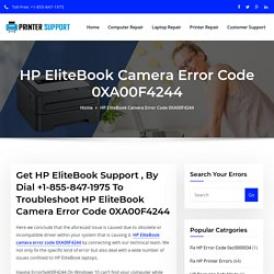 HP EliteBook Camera Error code 0XA00F4244
