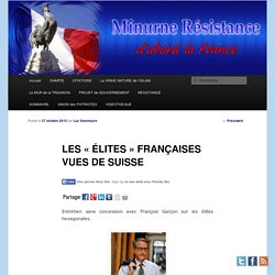 LES « ÉLITES » FRANÇAISES VUES DE SUISSE