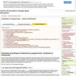 eLittératie et citoyenneté... charte d'utilisation - Centre de formation Google Apps Éducation