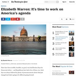 Elizabeth Warren: It's time to work on America's agenda