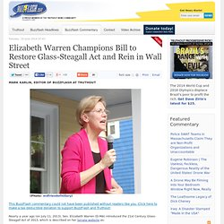 Elizabeth Warren Champions Bill to Restore Glass-Steagall Act and Rein in Wall Street