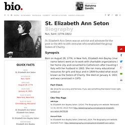 a biography of elizabeth ann seton St elizabeth ann seton on september 14, 1975, pope paul vi canonized elizabeth ann bayley seton this made her the first american-born citizen to be a canonized saint.