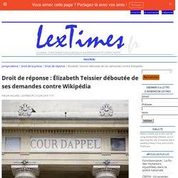 Droit de réponse : Élizabeth Teissier déboutée de ses demandes contre Wikipédia