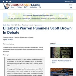 Elizabeth Warren Pummels Scott Brown in Debate