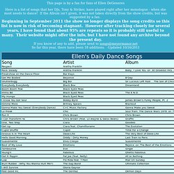 Ellen DeGeneres Dance Songs List