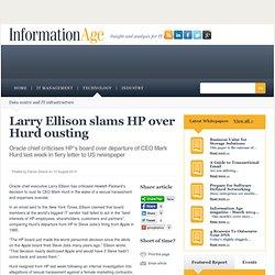 Oracle CEO slams HP over Hurd ousting
