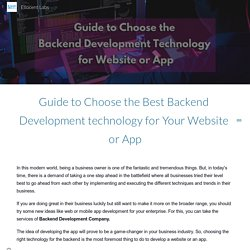 Guide to Choose the Best Backend Development technology for Your Website or App