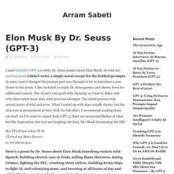 Elon Musk By Dr. Seuss (GPT-3) – Arram Sabeti