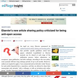 Elsevier's new article sharing policy criticized for being anti-open access